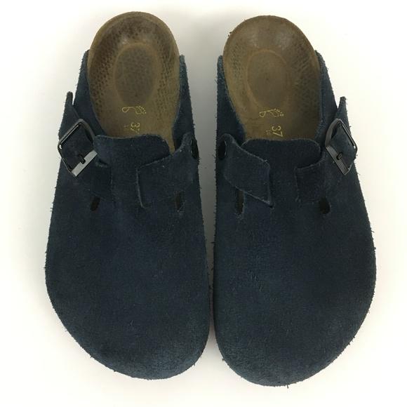 28b85d12a83f Birkenstock Shoes - Birkenstock Boston Navy Suede Clogs Size 37